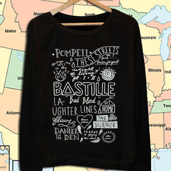 Bastille collage art crew neck sweatshirt pullover long sleeved