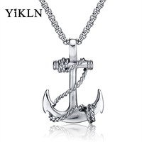 YiKLN Hiphop/Rock Ocean Anchor & Rope Pendant Necklaces For Men Punk Style Stainless Steel Link Chain Neckalce Jewelry YGX1134