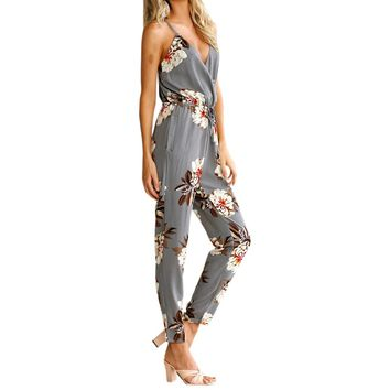 Boho Beach Jumpsuits Sexy Casual Floral Print Jumpsuits Summer Women Spaghetti Strap Backless Sexy Jumpsuit Overalls Femme LX338