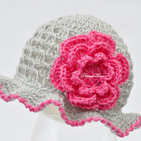 Baby Girl Summer Hat - Cotton Baby Hat, 0 - 3 monhts size, READY TO SHIP