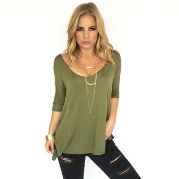 Freedom Jersey Blouse In Olive