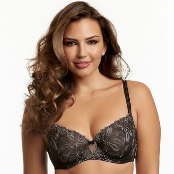 Paramour Bra: Ellie Unlined Full-Figure Demi-Cup Bra 115009 - Women's (Black)