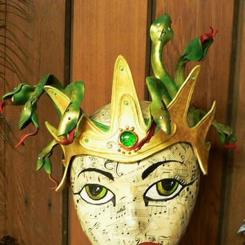 Crowned Medusa, leather headpiece crown bright gold with bronze, green serpents READY TO SHIP for Halloween