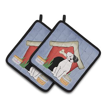 Dog House Collection White Boxer Cooper Pair of Pot Holders