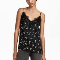 Satin and Lace Camisole Top - from H&M