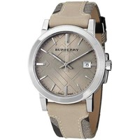 Burberry BU9021 Women's Large Check Tan Leather and Canvas Strap Cream Dial Watch