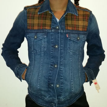 Plaid Panel Women's Denim Levi's Trucker Jacket