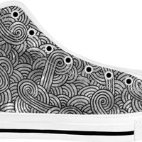 Grey and black swirls doodles White High Tops