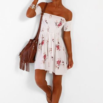Amalfi Coast White Floral Bardot Mini Dress