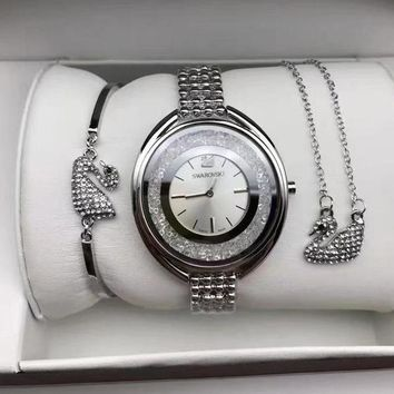 Swarovski Women Fashion Diamonds Delicate Wristwatch Watch Necklace Bracelet Three Piece Suit