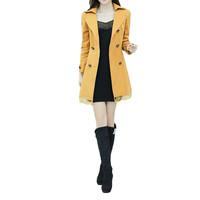 Yellow Lapel Collar Double Breasted Bow Waist  Long Sleeve Trench Coat