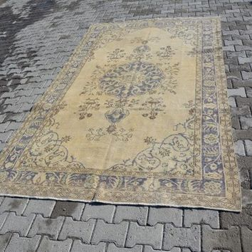 Oushak Rug Turkish Rugs Anatolian Rug Vintage Rug Handmade Rug Area Rug Overdyed Rug Distressed Rug Shabby Chic Unique 9.9 x 5.8 Feet AG211