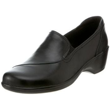 Clarks Women`s May Poppy Loafer,Black Leather,10 N US