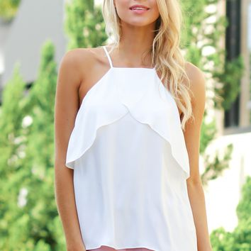 High Neck Ruffle Blouse Off White