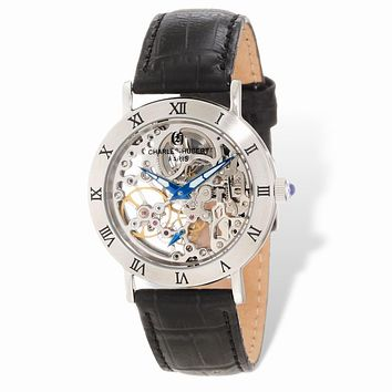 Charles Hubert Ladies Stainless Skeleton Dial Leather Band 35mm Watch