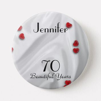 70th Birthday Button / Pin, Small Red Hearts