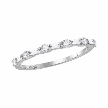 14kt White Gold Women's Round Baguette Diamond Stackable Band Ring 3-8 Cttw - FREE Shipping (US/CAN)
