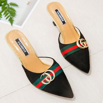 GUCCI Trending Women Stylish Suede Metal Pointed High Heels Sandals Black