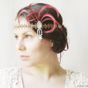1920s Inspired Headpiece, Flapper Headband, Gatsby Style Hair Accessories, Art Deco, Vintage, Feathers, Rhinestones, Burgundy, Red, Gold
