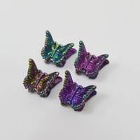 Butterfly Clips 90s Mini Oil Slick Iridescent Soft Grunge Kawaii Black Brown Rainbow Shimmer Metallic Hair Clips Accessories 1990s 2000s