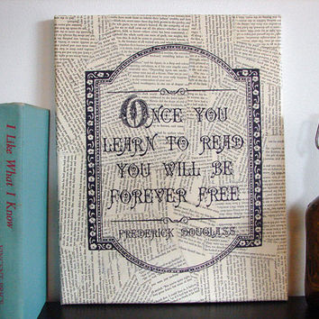 Literary Quote on Canvas Forever Free Frederick Douglass by Stoic