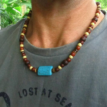 Howlite & Wooden Beaded Necklace / Ethnic Surfer Necklace / Men's Beaded Necklace / Men's Choker Necklace / Tribal Hippie Necklace