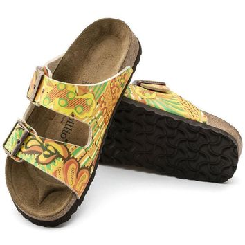 Sale Birkenstock Arizona Birko Flor African Wax Gold 1004906 Sandals