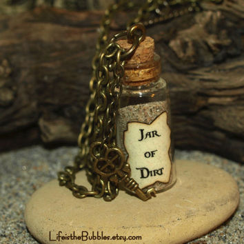 Jar of Dirt Necklace and Key Charm Disney Pirates of the Caribbean Jack Sparrow Tia Dalma