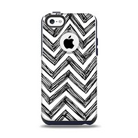 The Sketch Black Chevron Apple iPhone 5c Otterbox Commuter Case Skin Set