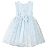 Lesy Blue Glitter Flower Detail Tulle Dress with Bow | AlexandAlexa
