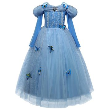 Little Girl Princess Dress Fairy Costume Lace Ball Gown Butterfly Decoration Sky-Blue Stage Outfits Size 4 5 6 7 8 9 10 Vestidos