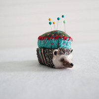 Hedgehog Pin Cushion 1 / Animal Totem / Colorful / Turquoise and Red / Soft Sculpture / Polymer Clay / Limited Edition