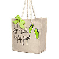 Home Accents® Burlap Life's Better in Flip Flops Tote