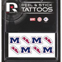 NCAA University of Mississippi (Ole Miss) Rebels 8 Piece Temporary Tattoos