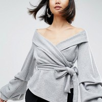 ASOS WHITE Off Shoulder Wrap Top In Jersey at asos.com