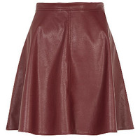 Burgundy Leather-Look Skater Skirt