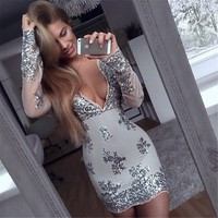 Madelyn Sequin Deep-V Dress