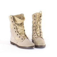 Military Laceup Tan Safari Boots Army Hiking Flat Boots Size 8