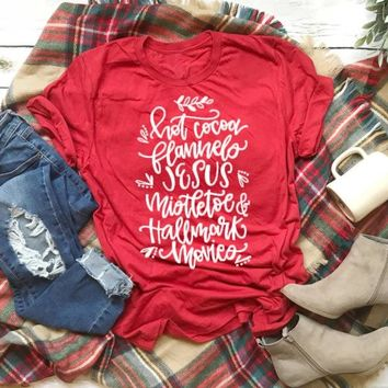 What's better than HOT COCOA Mistletoe JESUS and Christmas Movies graphic red celebrate fashion women slogan grunge t shirt tees