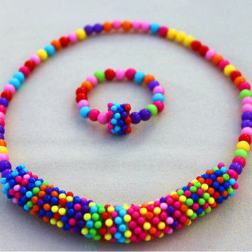 Cute Children Gift Baby Kid's Necklace Bracelet Set Acrylic Beads Jewelry,Child's Christmas Gift