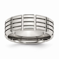 Men's Stainless Steel Grooved Polished Wedding Band Ring: RingSize: 12