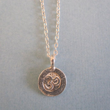 Tiny Sanskrit Om Ohm Silver Necklace by by MarisaLeeDesigns