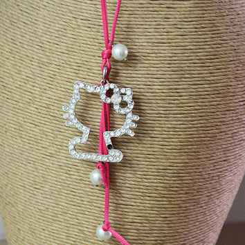 Hello Kitty necklace, Hello Kitty sequined pendant on pink cord, Hello Kitty and faux pearls necklace, vintage hello kitty pendant