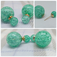 Mint Green Simulated Pearl Double Sided Bijou Earrings