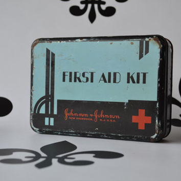 Antique Art Deco Johnson and Johnson First Aid Kit Metal RX Tin Industrial Rustic Rx Bathroom Decor Hospital Doctor Health