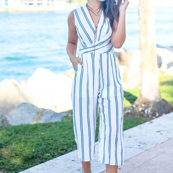 Ivory and Blue Striped Sleeveless Jumpsuit