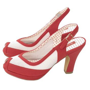 Red and Ivory Mesh Peep Toe Spectator Heels