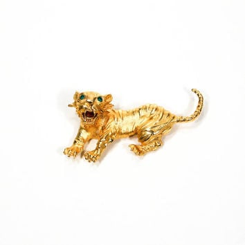 Roaring Tiger Brooch, Pendant, Gold Tone, Emerald Green Eyes, Couture, Designer Jewelry, Hattie Carnegie Style