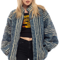 Wool Jacket Ethnic STRIPED Grunge 90s Boho Hippie Blanket Vintage Bohemian South American Mandarin Collar Navy Blue Slouchy Medium Large