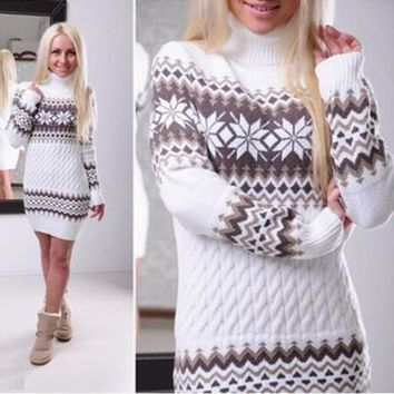 Women's Sweater Christmas Autumn and Winter Women's Turtleneck Sweater Dress Long Snowflake Pullover Sweater